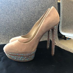 Brian Atwood suede pumps with Swarovski Crystals